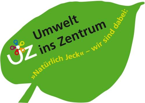 Erkennungszeichen Natürlich Jeck ist ein grünes Blatt mit dem Logo vom Umweltzentrum und eintragbarem Namen.